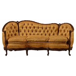 Button back relief carved new orleans sofa for Sectional sofas new orleans