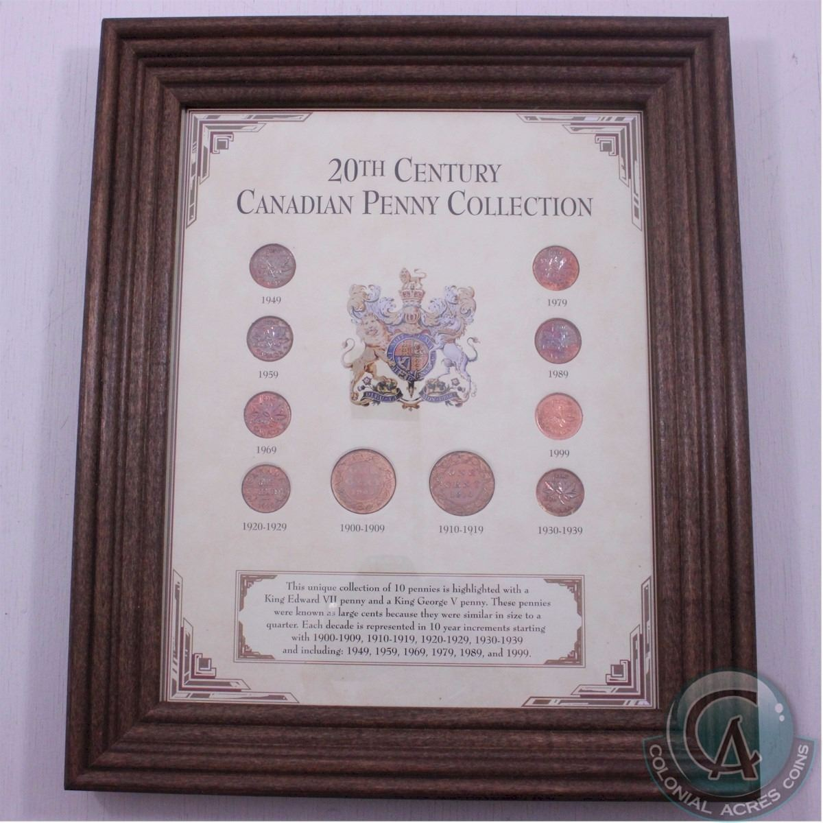 Framed 1903-1999 20th Century Canadian Penny Collection. The dates ...