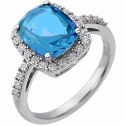 Emerald Cut Swiss Blue Topaz and Diamond Ring