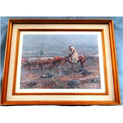 "Ralston, J.K. signed print, Watching The Herd In A Storm, framed, 10"" x 14"""