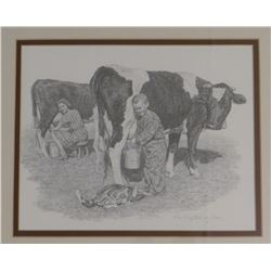 "Don Greytak, framed print, Bob Zion Milking Time (Scotty's brother), 11"" x 14"""