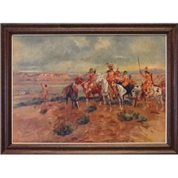 "CM Russell framed print, Finding The Trail,  9.5"" x 13"""