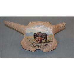 "Elmer Schock (Choteau, MT) oil on buffalo skull, Meal Time, 1972, 7"" diam."