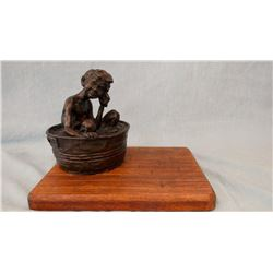 "Gary Schildt, bronze, Bath Time, #19/25, 1966, 5.5"" h x 4.5"" w"