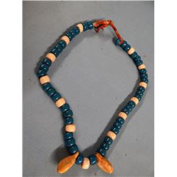 Blackfeet necklace, large glass Crow beads, blue/white, 2 elk ivories on leather string, Fields Coll