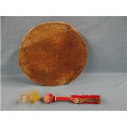 Blackfeet hand drum, used during dances, Fields Collection and trade cloth rattle, Fields Collection