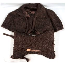 Black lamb's wool cape and muff and Silver fox stole