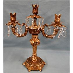 Ornate brass/crystal candelabra
