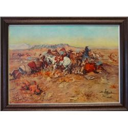 "CM Russell framed print, A Desperate Stand,  9.5"" x 13"""