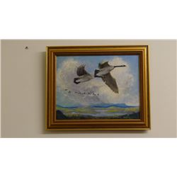 "Joe Halko (1940-2009), oil, Honkers In Flight, 1978, 14"" x 11"", framed"