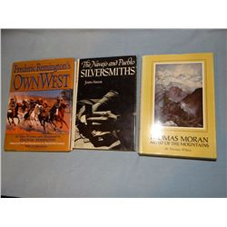 3 books: Thomas Moran, Artist of the Mountains, T. Wilkins, dj, 1966; Frederic Remington's Own West,