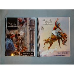 2013 and 2014 Russell Art Auction Catalogs w/ price lists, spiral bound