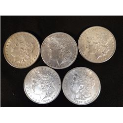 5 Morgan dollars, all 1889, some near AU