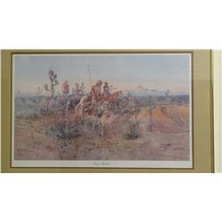 """C.M. Russell, print, Navajo Trackers, #103/950, 15"""" x 25"""" framed"""