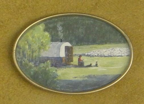 image 1 anne aller overstreet watercolor sheep wagon 2 x 3 - Sheep Wagon 2