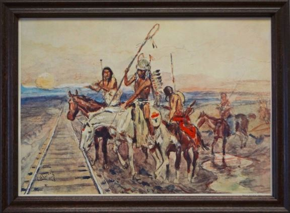 CM Russell framed print, Trail of the Iron Horse, 9.5\