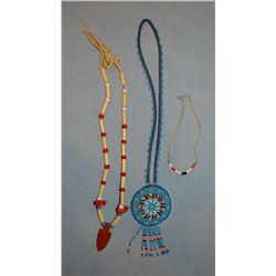 3 Blackfeet beaded pieces, hairpipe necklace, medallion necklace, pony bead girl's necklace