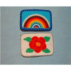 2 Beaded belt buckles, Plains Indian, contemporary, 1 by Jackie Limberhand, N. Cheyenne