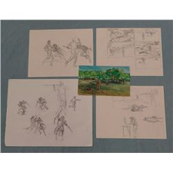 Dave Powell collection of sketches and small gouache, depicting the Lewis & Clark fight sight on the