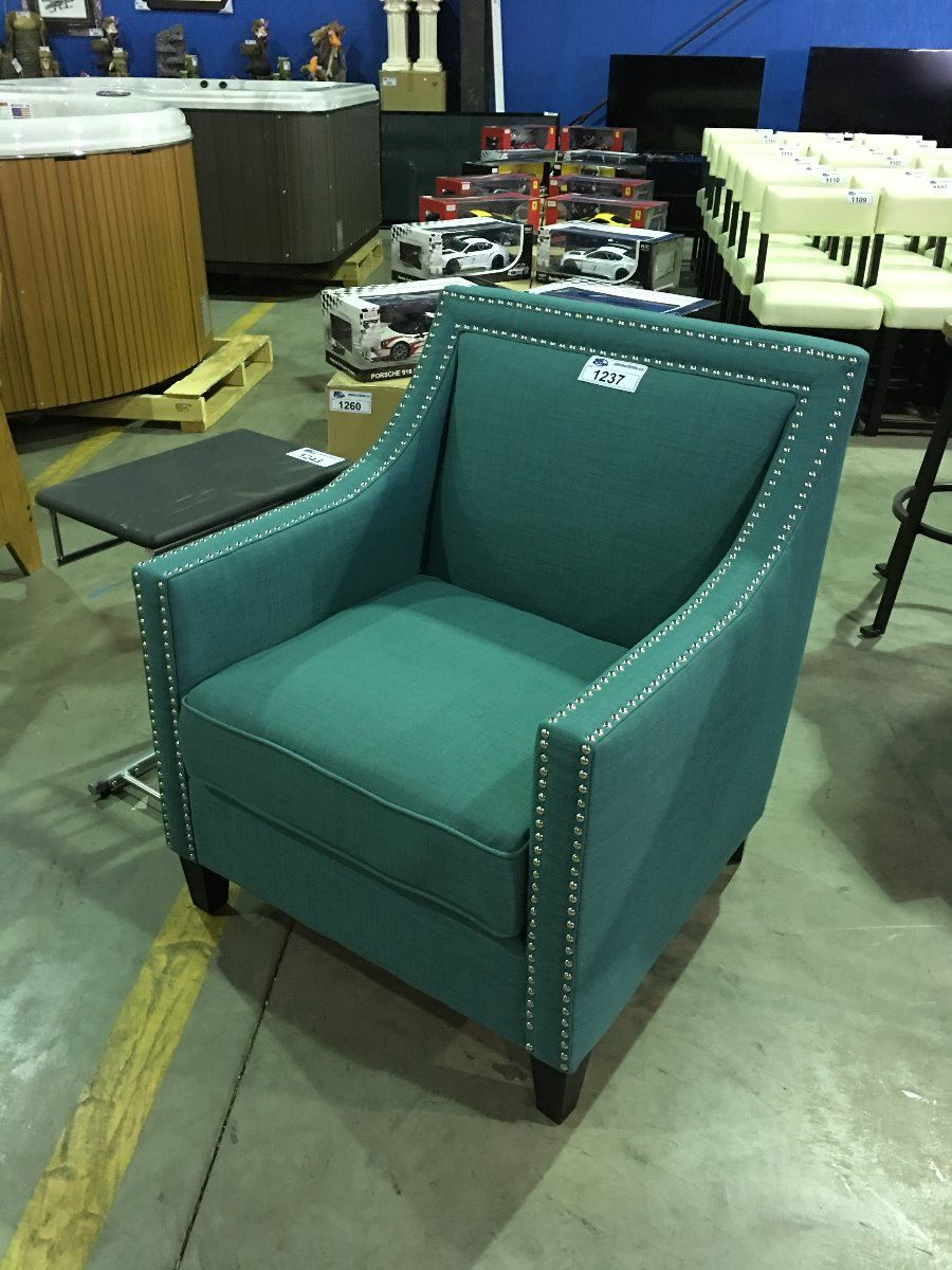 Image 1 : MID CENTURY MODERN INSPIRED TURQUOISE STUDDED ACCENT CHAIR