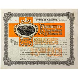 Kimberlite Diamond Mining & Washing Company Stock Certificate