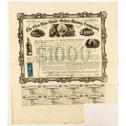 Oro Fino Gold and Silver Mining Company Bond, Inyo County, 1865