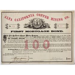 Alta California Copper Mining Company Bond