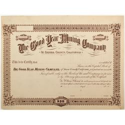 Good Year Mining Company Proof Certificate, Downieville