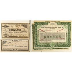 Idaho Maryland Mining Stock Certificates