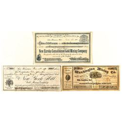 Trio of Different Grass Valley Mining Stock Certificates