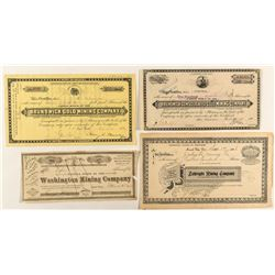 Four Different Grass Valley & Nevada City Mining Stock Certificates