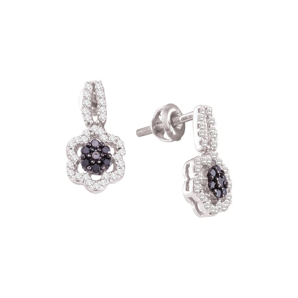 Genuine 0 33 CTW Black Diamond Earrings 10KT White Gold GD REF 25Z3T