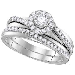 Natural 0.63 ctw Diamond Bridal Set Ring 10K White Gold - GD106167-REF#86R3K