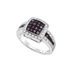 Genuine 0.50 CTW White & Cognac Diamond Ladies Ring 14KT White Gold - GD65354-REF#52F2N