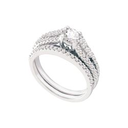 Natural 1.0 ctw Diamond Bridal Set Ring 14K White Gold - GD39505-REF#144F2M