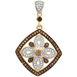 Genuine 0.35 CTW White & Cognac Diamond Pendant 14KT Yellow Gold - GD106848-REF#39F5N