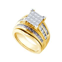 Natural 1.85 ctw Diamond Bridal Set Ring 14K Yellow Gold - GD28305-REF#278K9T
