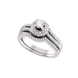 Natural 0.50 ctw Diamond Bridal Set Ring 14K White Gold - GD69156-REF#107T9Z