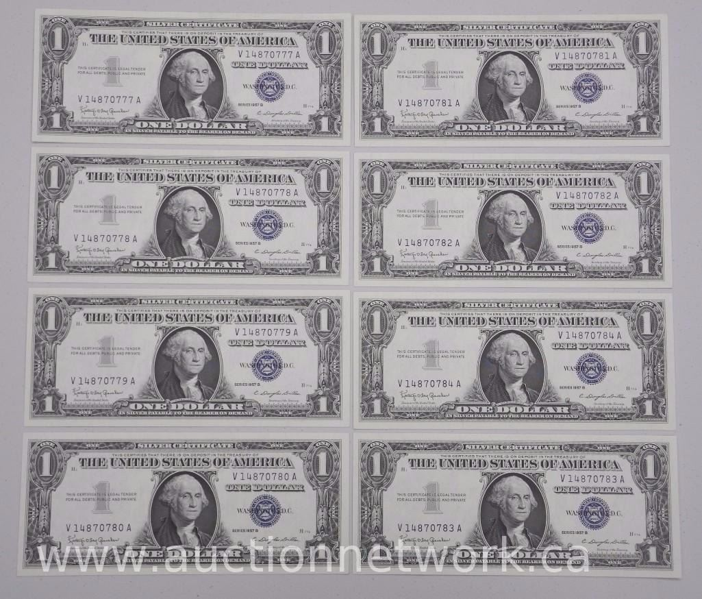 8x USA Silver Certificates series 1957B - One Dollar Notes. In ...