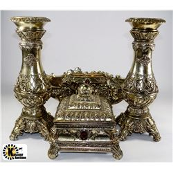 Flat of bronze tone items including candle holders for Flat candle holders