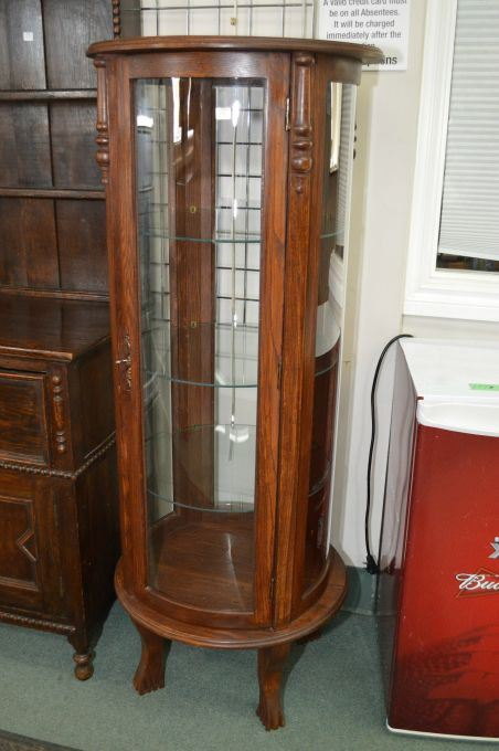 Image 1 : Four Panel, Single Door Curved Glass And Oak Curio Cabinet With  Three