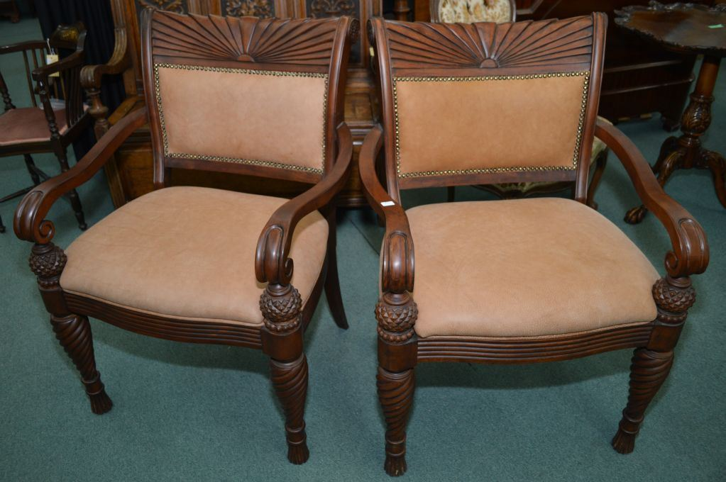 Image 1 : Pair Of Modern Quality Open Arm Parlour Chairs Made By T.S. Berry
