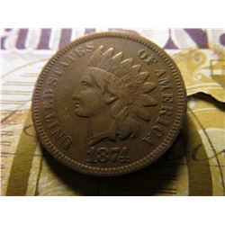 "1874 Indian Head Cent. VF; & 1874 ""Gold"" Check drawn on ""Merchants National Bank of New York"" by ""La"