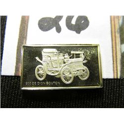 "(2) Different 5"" x 7"" black & white photos of Antique Automobiles; & ""1900 De Dion Bouton"" Sterling"