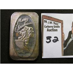 """Merry Christmas"" Santa Claus climbing down chimney, .999 Fine Silver One Troy Ounce Ingot."