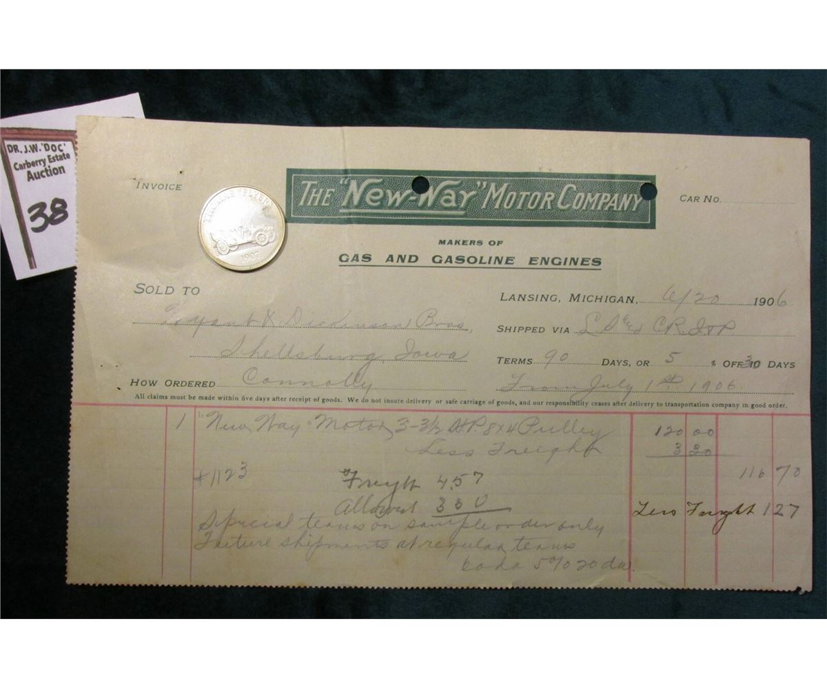 image 3 1906 invoice the new way motor company makers of