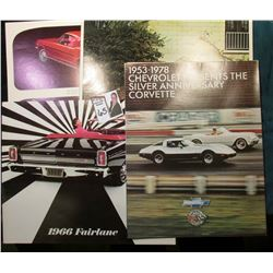 "11"" x 8 1/2"" heavy advertising Poster ""'65 Mustang 2 + 2""; ""1966 Fairlane"" Advertising Brochure; ""19"