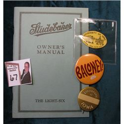 """Studebaker Light-Six"" Owner's Manual; ""University of Iowa Iowa City ""The Ideal Home City"" Sticker;"