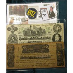 "Facsimile $100 ""Illinois and Michigan Canal State Bank of Illinois"" Note; ""Ritz Crackers"" Cardboard"