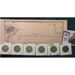 189_ Era blank Check with Bear lithograph; & 1890-95 Complete Set of Liberty Nickels.